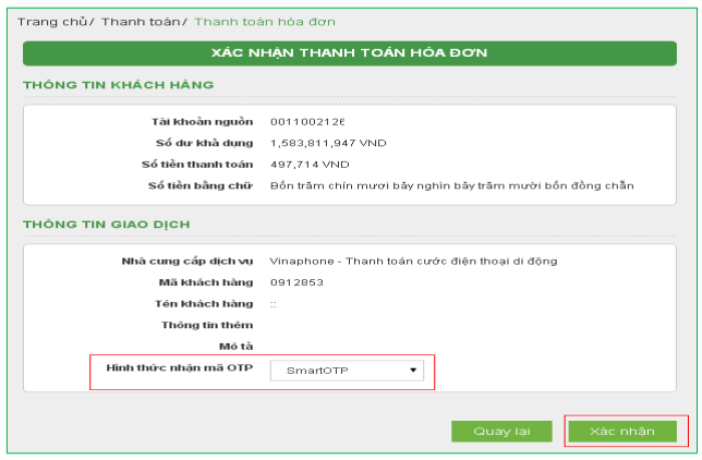Dịch vụ thanh toán trực tuyến Vietcombank