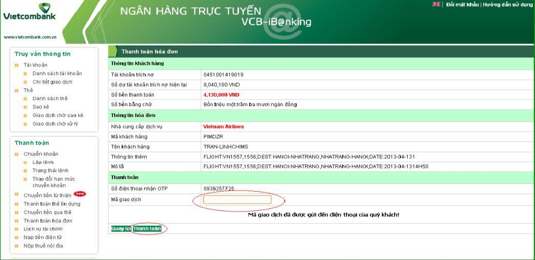 Đăng ký thanh toán hóa đơn máy bay Vietcombank online