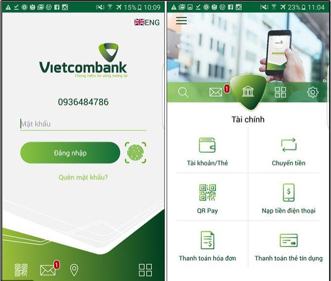 Thanh toán tiền điện qua ngân hàng Vietcombank trên App điện thoại