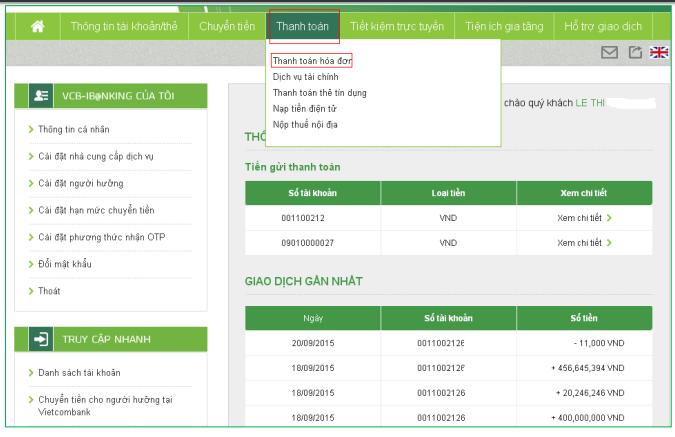 Đăng ký thanh toán trực tuyến Vietcombank