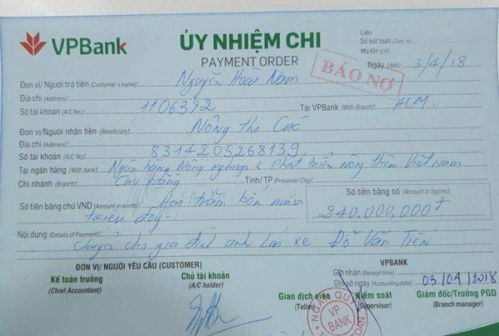 Biên lai giấy ủy nhiệm chi VPbank
