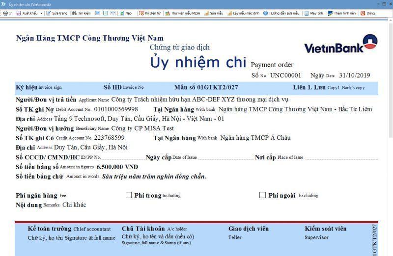 Ủy nhiệm chi Vietinbank