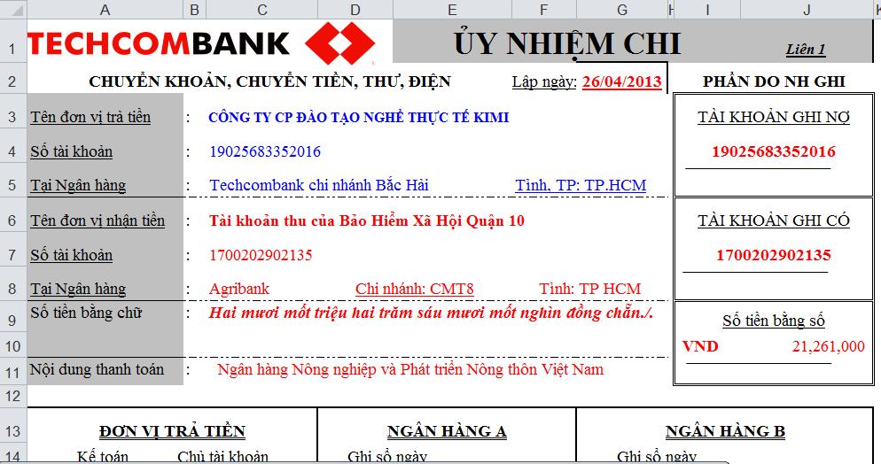 Ủy nhiệm chi Techcombank