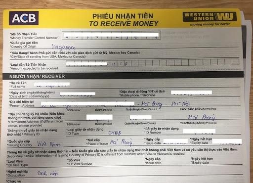 Phiếu nhận tiền qua dịch vụ Western Union