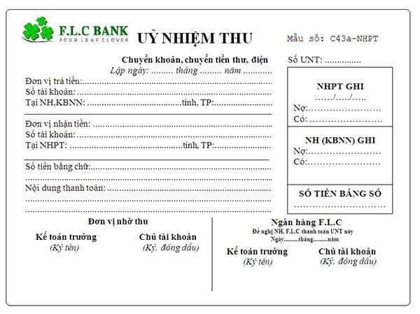 Một mẫu đơn của ủy nhiệm thu