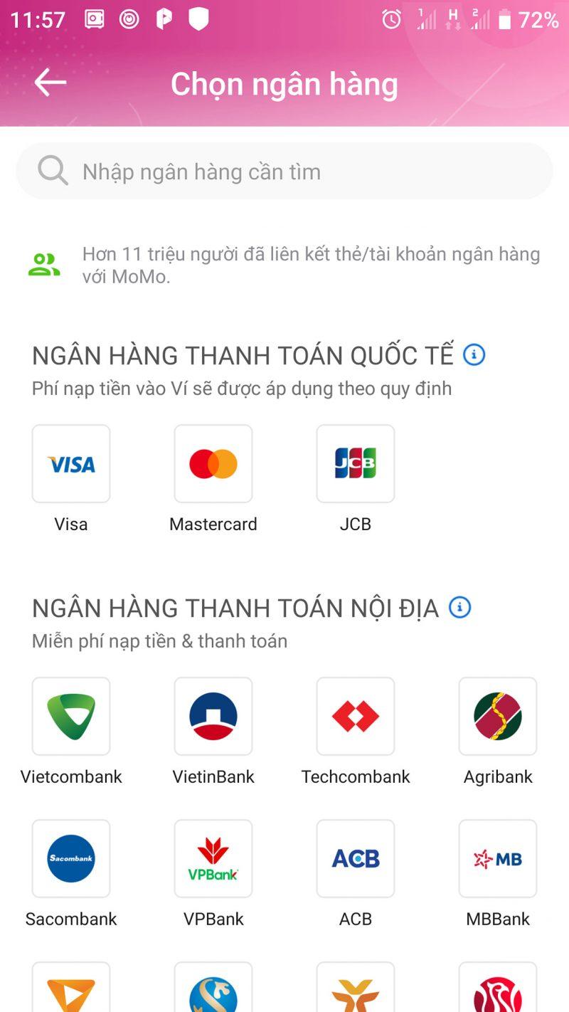 cách liên kết momo với ngân hàng vietcombank