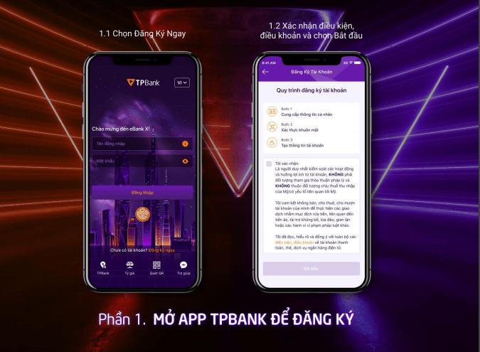 Mở app TPBank để đăng ký